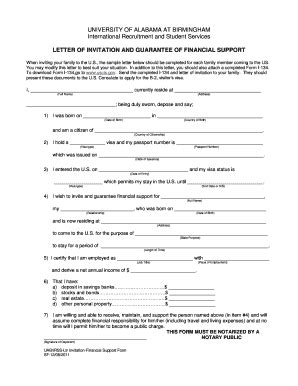 Invitation Letter Form I 134 Financial Support Letter For Visa Application Sle Affidavit Of Support I 134 For Visitor