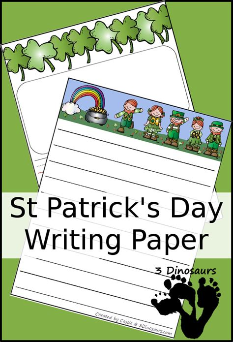 s day writing paper free st patrick s day writing paper two types with lined