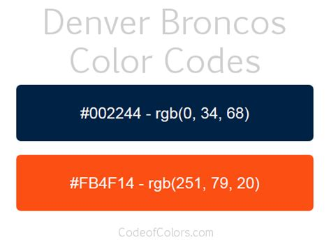 what are the broncos colors denver broncos colors hex and rgb color codes