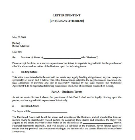 Letter Of Intent Sle For Leave Of Absence Letter Of Intent To Purchase Business 8 Free