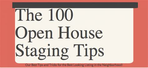 Mba Open House Tips by 100 Open House Staging Tips Womble Realty Co