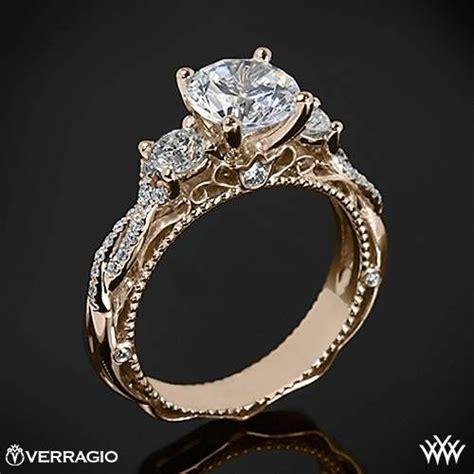 20k gold verragio beaded twist 3 engagement ring