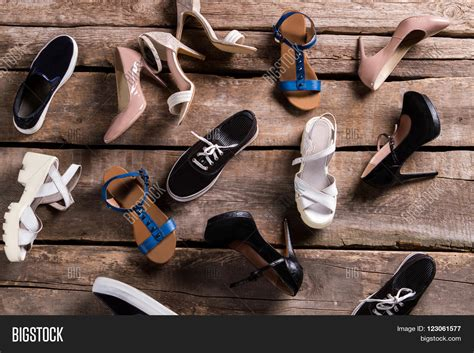 Old Shoes On The Floor Vintage Beauty Fashion Photos | different female shoes on floor image photo bigstock