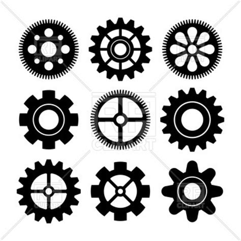 Sfu Cogs 100 Outline by Set Of Gear Wheels Royalty Free Vector Clip Image 61033 Rfclipart