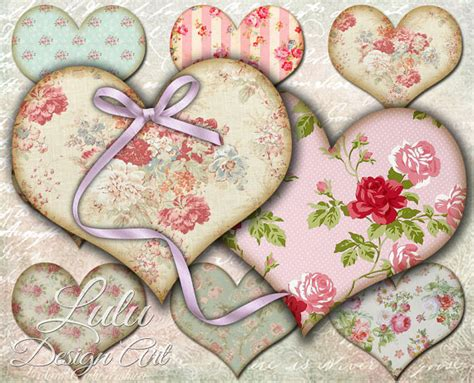 shabby chic hearts digital collage sheet tags heart
