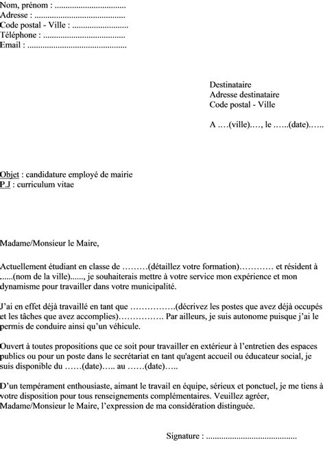 Lettre De Motivation Visa Travail exemple de lettre de motivation 233 tudiant employ 233 en mairie actualit 233 s informations