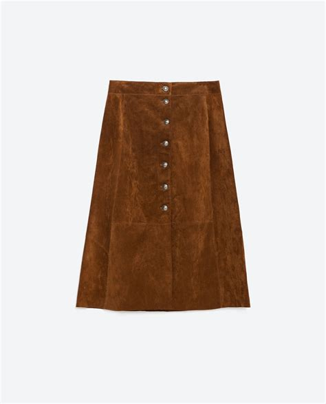 brown leather skirt zara leather skirt in brown lyst