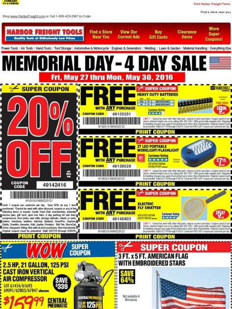 Buy Harbor Freight Gift Cards - harbor freight attention email customers memorial day 4 day sale starts friday 20