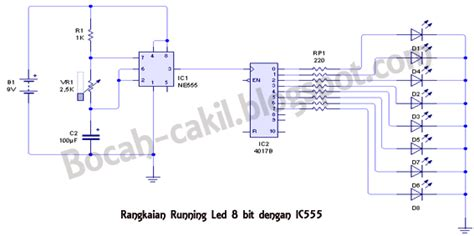 rangkaian dan layout running led membuat rangkaian led berjalan dengan ic 555