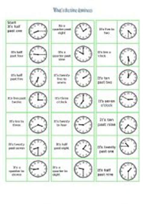 printable clock dominoes english worksheet what 180 s the time dominoes