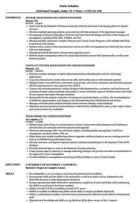 telecom engineer resume format telecommunications engineer resume sles velvet