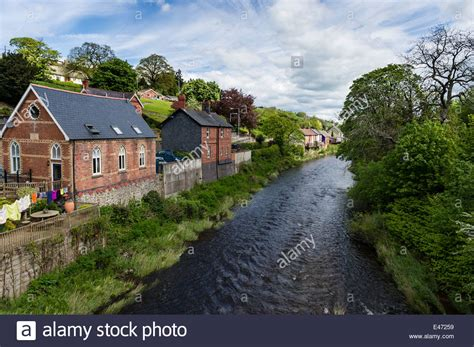 llanfair house riverside house on the banks of the river banwy einion at llanfair stock photo