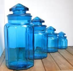 Kitchen Canisters Blue Set Of 4 Vintage Blue Glass Canisters
