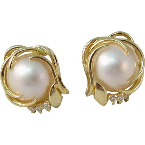 Gold Pierced Earrings by Vintage 14k Yellow Gold Pearls And Diamonds Pierced