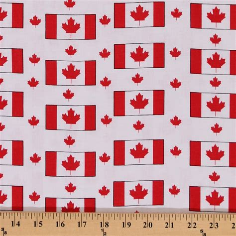 printable flag fabric cotton red maple leaf leaves canadian flags canada white
