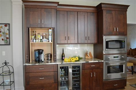 Decorating A Hutch Coffee Bar Transitional Kitchen Cleveland By