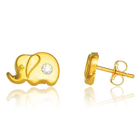 Chil Kid Gold 14k real yellow gold elephant post stud shiny cz earrings