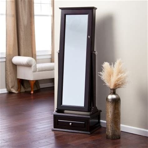 locking mirror jewelry armoire belham living removable decorative top locking mirrored