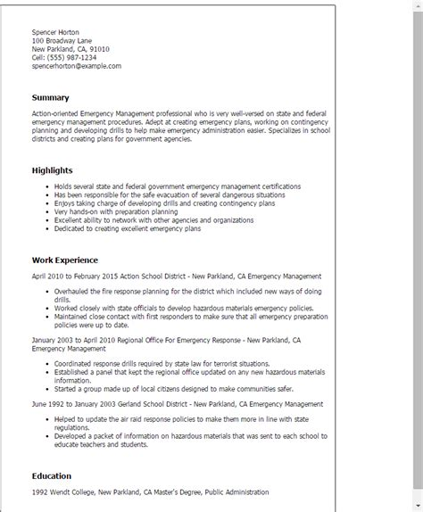 Er Resume Summary Professional Emergency Management Templates To Showcase Your Talent Myperfectresume