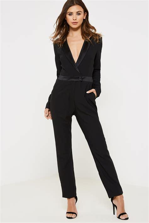 fashion union ziggy tuxedo jumpsuit black ebay