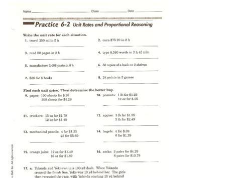 Proportional Reasoning Worksheets by Unit Rates Worksheet Lesupercoin Printables Worksheets