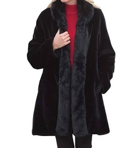 plus swing coat women s winter black washabe faux fur swing coat jacket