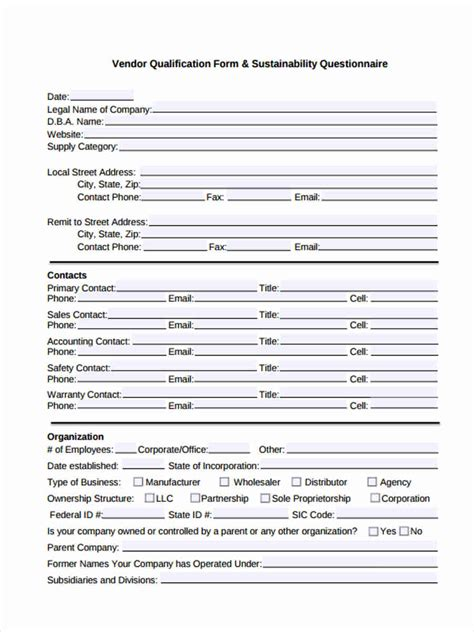 vendor qualification form template 11 supplier questionnaire form sle free sle