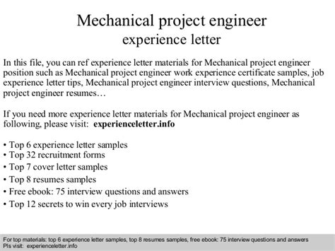 Work Experience Letter Mechanical Engineer Mechanical Project Engineer Experience Letter