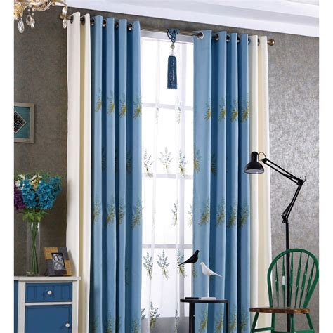 Blue And White Curtains For Living Room Blue And White Botanical Embroidery Custom Linen Country