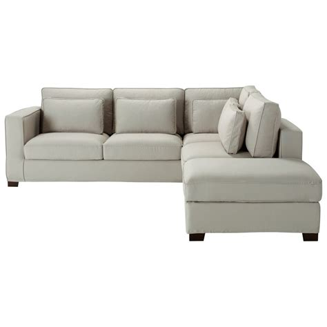 5 seater cotton corner sofa in light grey maisons