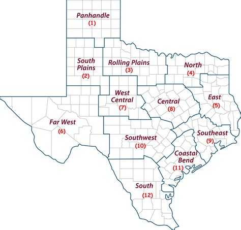 4 regions of texas map blank map of 4 regions of texas