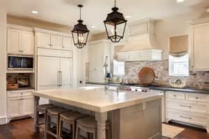 charming French Kitchen Lighting #1: Brick-backsplash-kitchen-traditional-with-recessed-lighting-beige-countertop.jpg