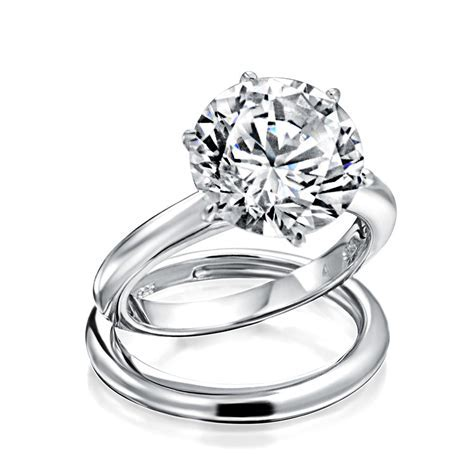 925 Silver Round 3.5ct CZ Solitaire Engagement Ring Set