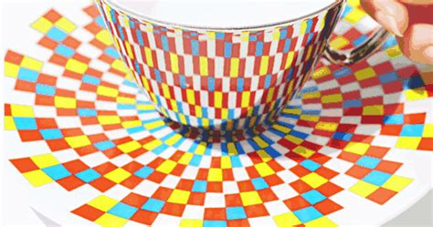design pattern reflection mirror teacups reflect colorful patterns from the saucers