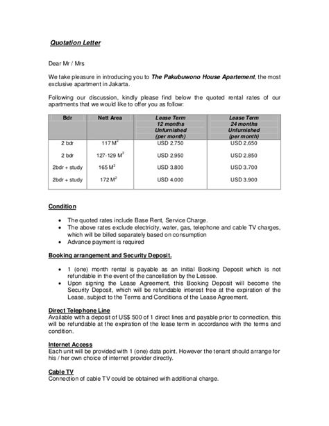 Rental Quotation Letter Quotation Letter For 2 Bedroom Pakubuwono House Apt