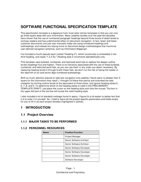functional specification template software functional specification template