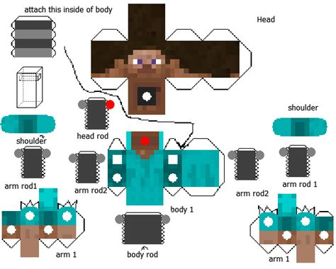 Papercraft Designs - papercraft poseable steve version 2