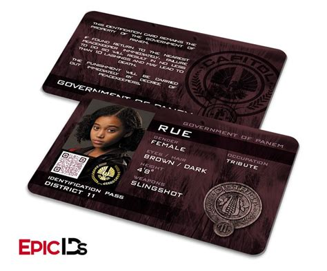 hunger id card template the hunger inspired panem district 11 quot rue