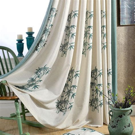 chinese curtain fabric bamboo embroidered chinese curtains for bedroom blackout