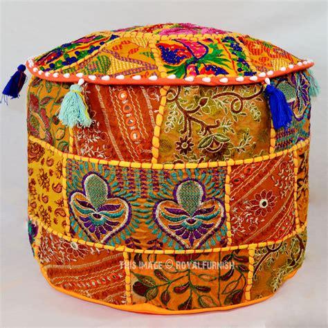 Patchwork Pouffe Footstool - orange vintage handmade patchwork ottoman footstool