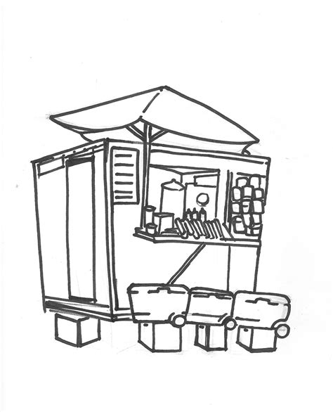 food cart coloring page food cart drawing