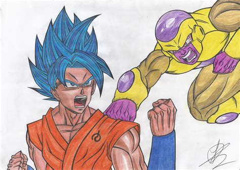 imagenes de goku golden goku ssj blue vs golden freeza by henriquedbz on deviantart