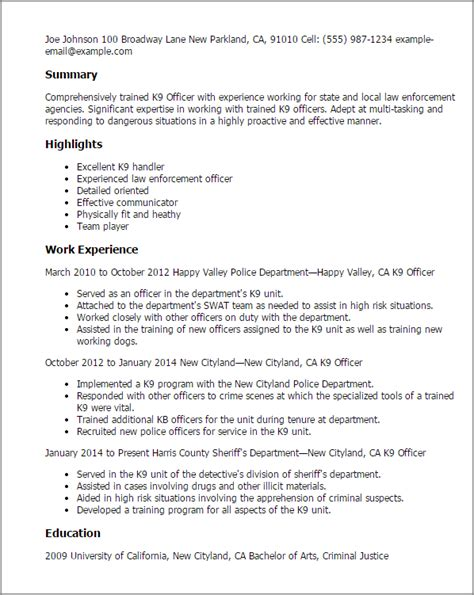 K 9 Handler Resume by Professional K9 Officer Templates To Showcase Your Talent