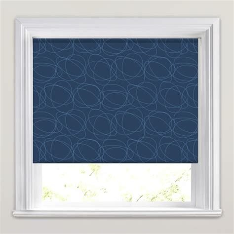 blue patterned roller blind luxury midnight blue white swirling patterned roller blinds
