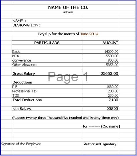 excel payslip template a payslip sle template