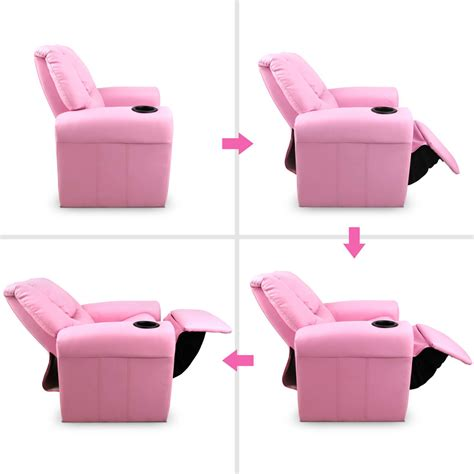 pink recliner chair padded pu leather recliner chair pink