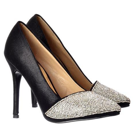 onlineshoe diamante encrusted pointed toe mid heel