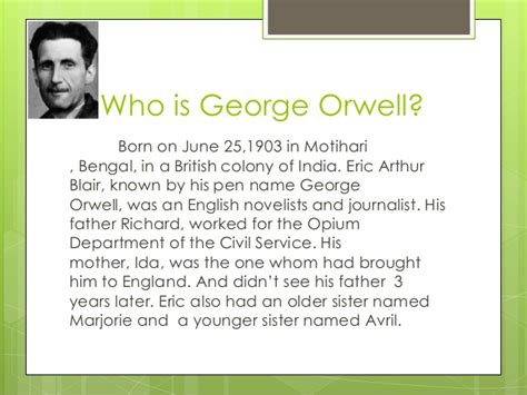 george orwell quick biography george orwell
