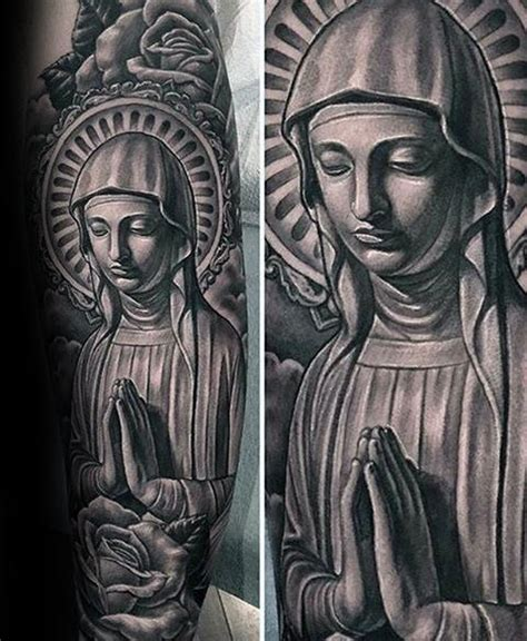 virgin mary half sleeve tattoo designs 100 tattoos for religious design ideas