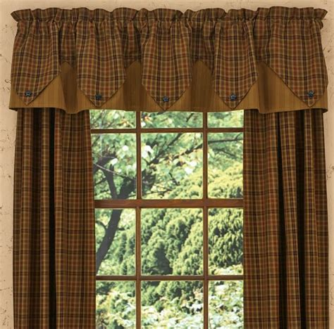 Plaid Curtains And Drapes Primitive Spice Lined Point Curtain Valance 72 Quot X 15 Quot